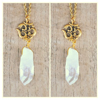 Om raw crystal quartz necklace. Raw quartz. Om necklace.