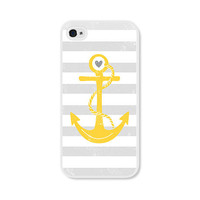 Striped Anchor Apple iPhone 4 Case - Plastic iPhone 4 Case - Nautical iPhone Case Skin - Mustard Yellow Grey White Cell Phone