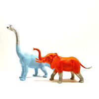 painted animals, graffiti, dinosaur, elephant, bright, pop art, neon decor, kids decor, metallic silver, animal figurines