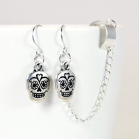 Silver Sugar Skull Chain Ear Cuff Earrings pair by by AtelierYumi