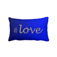 Hash Tag Love Cobalt - Lumbar Pillow from Zazzle.com