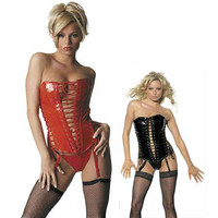 Sexy Fantasy Black And Red Lace Up Strapless PVC Corset Bustier And Panty Set [TML0432] - $40.00 : Zentai, Sexy Lingerie, Zentai Suit, Chemise