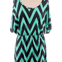 NEW Chevron Zig Zag Print Mint Black Batwing V Back Dress ~ S M L