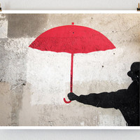 Paris Graffiti Red Umbrella Paris Photography by littlebrownpen