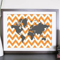 World Map Chevron Artwork Chevron World 10X8 Inches by TexturedINK