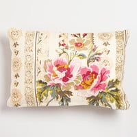 Pink Floral Herringbone Lumbar Throw Pillow