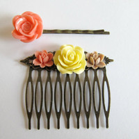 Hair accessory gift set, vintage inspired hair pins, comb and bobby pin in coral, yellow and beige