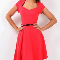 Sweetheart Neck RED skater Vintage Style Dress XS S M L XL