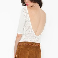 Plunging Lace Top - White in  Clothes at Nasty Gal