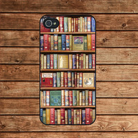 Book library Bookshelf book --iphone 4 case,iphone 4s case  ,in plastic or silicone case
