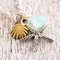 Starfish necklace - sea shell necklace, beach necklace, ocean necklace, blue stone, antique silver, star fish, seashell