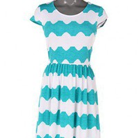 Sea of Waves Turquoise Dress