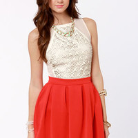 Everything Illuminated Coral Red Skirt