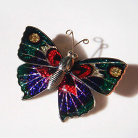 Vintage Metal Butterfly Pin brooch Green pink silver purple