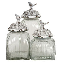 One Kings Lane - Country Chic - S/3 Bird Lidded Jars