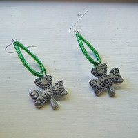 St. Patrick's Day Shamrock Green Hoop Earrings