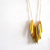 Gold leather stripes necklace