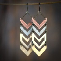Multi Metal Chevron Earrings