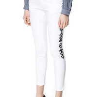 JEANS WITH EMBROIDERED SIDE - Woman - New this week - ZARA United States