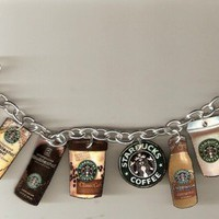Starbucks Coffee Lovers Charm Bracelet Handmade Plastic Charms Caffine Java YUM
