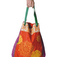 Coral &amp; Purple Hand Block Tote