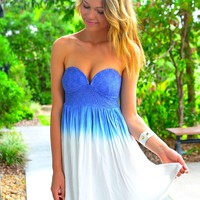 Blue Ombre Strapless Dress with Crochet Sweetheart Top