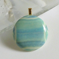 Streaky Blue Green Glass Pendant