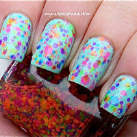 NEW--Clowning Around:  Custom-Blended NEON Glitter Nail Polish / Lacquer