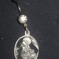 Howling Pewter Wolf 14 gauge CZ Belly Ring