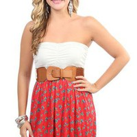 strapless floral printed casual dress with solid bubble skirt - debshops.com