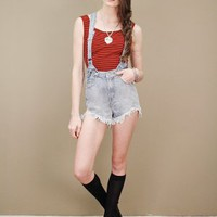 Washed blue penny jumper denim overall shorts by UNIF, high waistline | shopcuffs.com