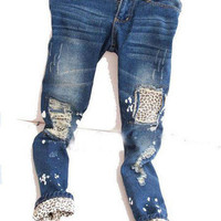 Candyspell  Leopard patched distressed jeans