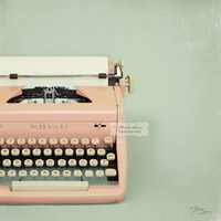 pink typewriter print