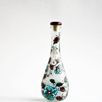 Hand Painted Bottle Upcycled Swarovski Crystals Brown Black Turquoise Floral Design Swarovski crystals.