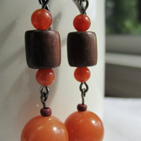 Aventurine and Tigerwood Beads Dangle Earrings