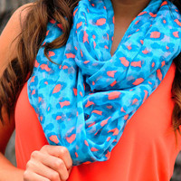 Summertime Fine Scarf: Blue/Coral | Hope&#x27;s