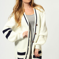 Flora Striped Arm Boyfriend Cardigan