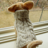 Dog Sweater Hand Knit Irish Fisherman Cable Small by jenya2