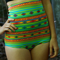 tribal high waisted retro cut bottom bikini