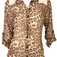 Amazon.com: A. Byer Animal Print Cold Shoulder Sheer Top: Clothing