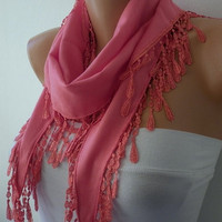 Hot Pink Scarf   Pashmina Scarf   Headband Necklace by fatwoman