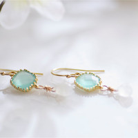 aqua sea glass earrings 14K gold filled french by DesignsByFlory