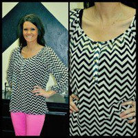 Black Chevron Blouse