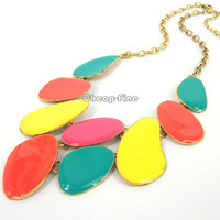 On Sale Fashion Golden Blue Orange Pink Yellow Oil Drop Style Pendant Necklace