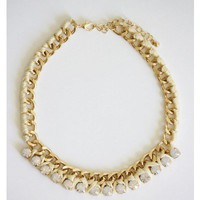 Dazzling Threaded Chain Necklace - Ivory
