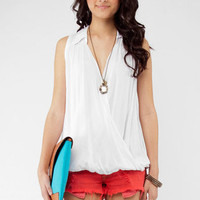 That&#x27;s a Wrap Sleeveless Top in White :: tobi