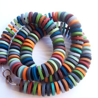 Polymer Clay Beaded Necklace, earth tones, 24 inch length