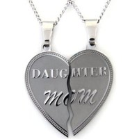 "Mom Daughter Break Apart Heart Necklace Pendant Set of (2) Half Heart Pieces with (2) 19"" chains. Stainless Steel - Gift for Mother or Daughter (with FREE Velvet Pouch)_Best Seller Necklace: Jewelry: Amazon.com"