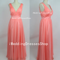 Straps Deep V Neck Long Chiffon Watermelon Prom Dresses Party Dresses, Homecoming Dresses, Evening Dresses