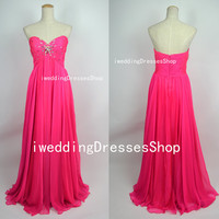 Strapless Sweetheart with Crystals Empire Long Chiffon Hot Pink Prom Dresses Party Dresses, Homecoming Dresses, Evening Dresses